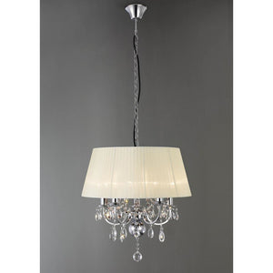 Bisque Diyas IL30045 Olivia Pendant With Ivory Cream Shade 5 Light Polished Chrome/Crystal diyas-il30045-olivia-pendant-with-ivory-cream-shade-5-light-polished-chrome-crystal Olivia