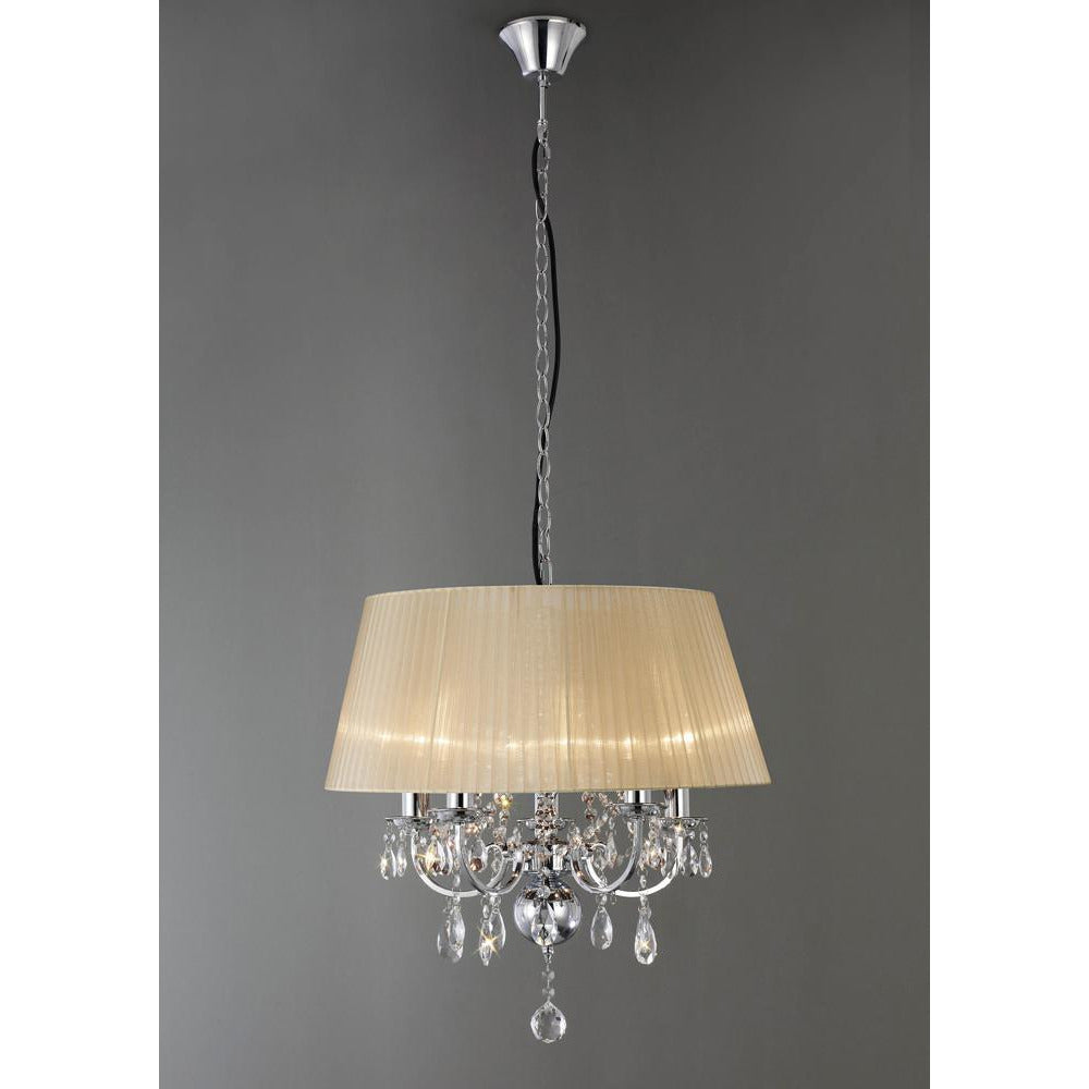 Tan Diyas IL30045 Olivia Pendant With Soft Bronze Shade 5 Light Polished Chrome/Crystal