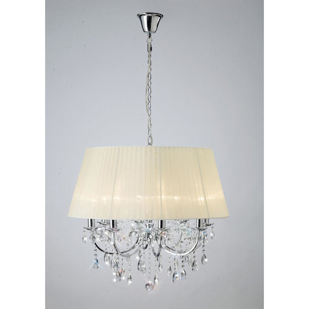 Bisque Diyas IL30056 Olivia Pendant With Ivory Cream Shade 8 Light Polished Chrome/Crystal