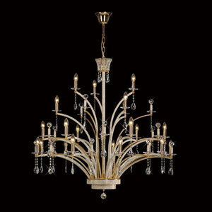 Rosy Brown Diyas IL30390 Orlando Pendant 21 Light French Gold/Crystal (ITEM REQUIRES ASSEMBLY)