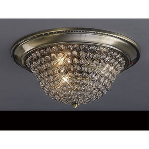 Dim Gray Diyas IL31130 Paloma Ceiling Small 2 Light Antique Brass/Crystal