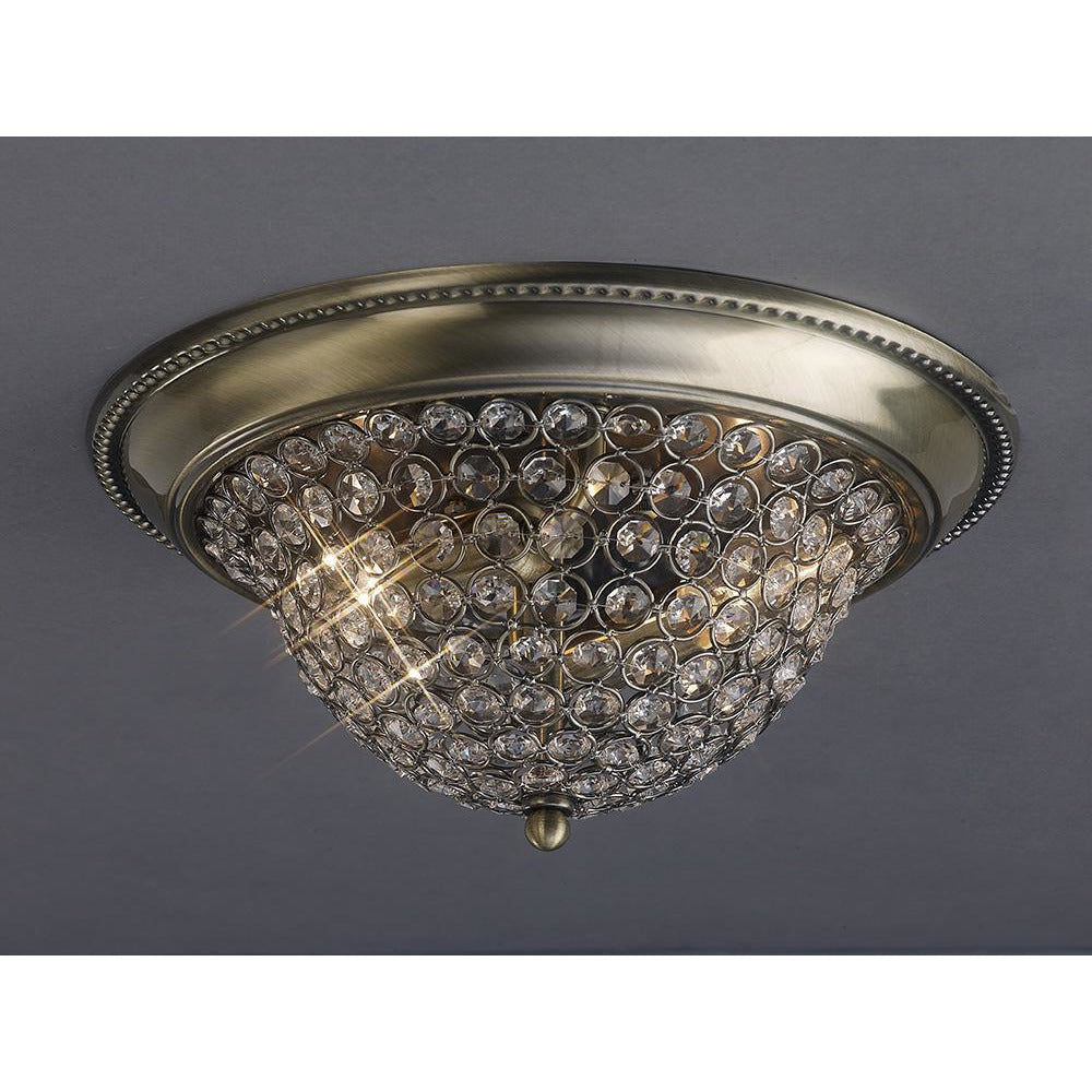Dim Gray Diyas IL31131 Paloma Ceiling Medium 2 Light Antique Brass/Crystal