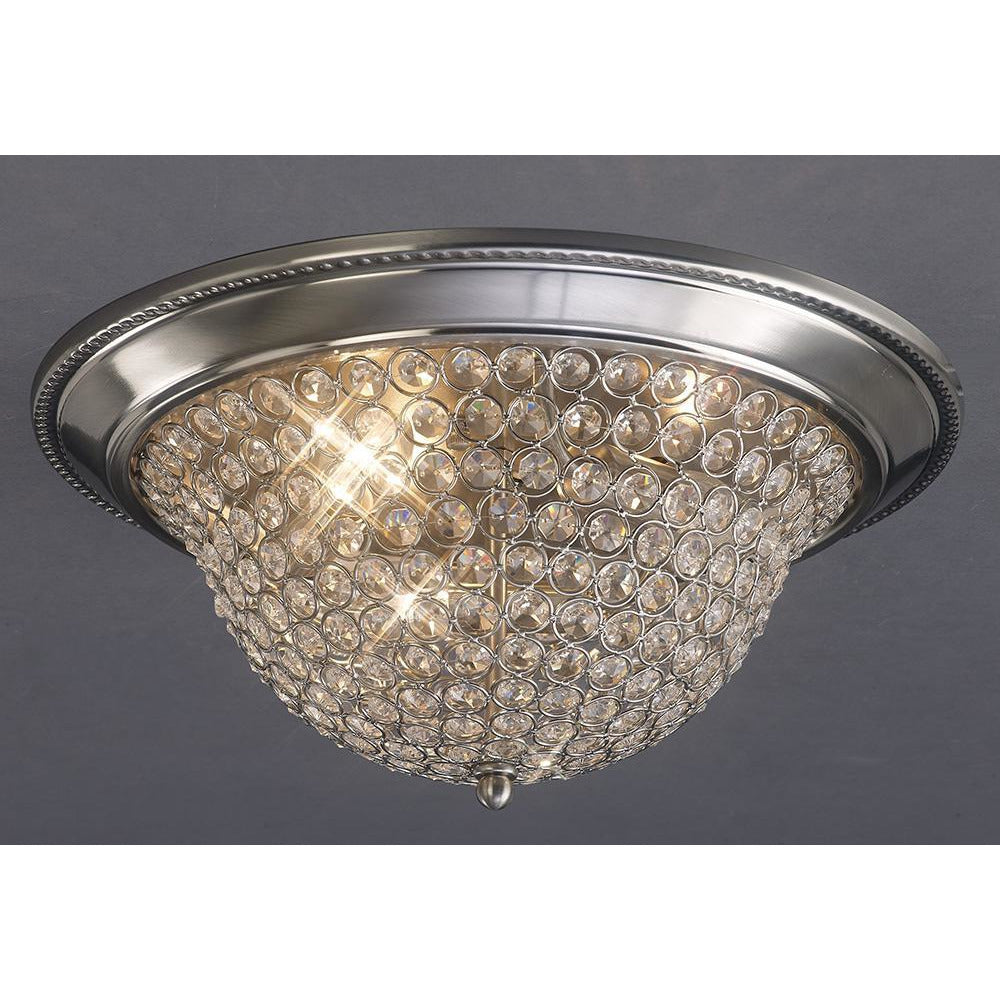 Rosy Brown Diyas IL31133 Paloma Ceiling Small 2 Light Satin Nickel/Crystal