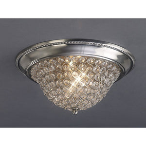 Rosy Brown Diyas IL31134 Paloma Ceiling Medium 2 Light Satin Nickel/Crystal