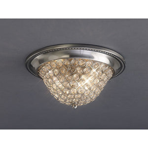Rosy Brown Diyas IL31135 Paloma Ceiling Large 3 Light Satin Nickel/Crystal
