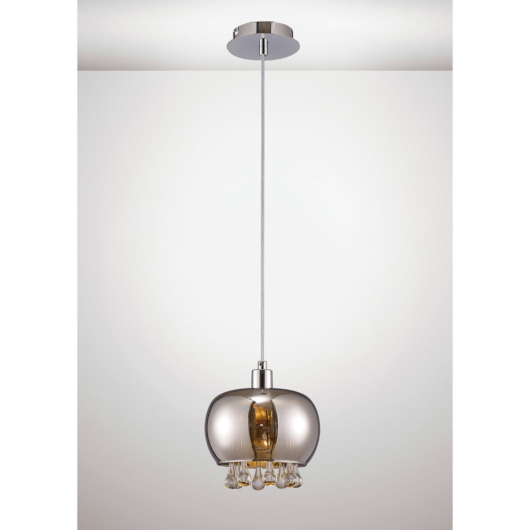 Lavender Diyas IL31600 Pandora Single Pendant 1 Light E14 Mirrored Glass/Polished Chrome/Clear Glass