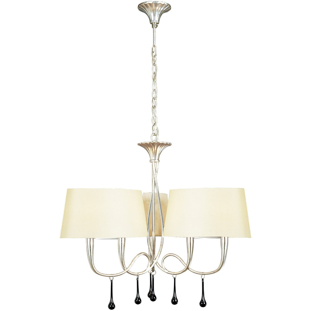 Antique White Mantra M0530/CS Paola Pendant 3 Arm 6 Light E14, Silver Painted With Cream Shades & Black Glass Droplets