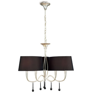 Dark Slate Gray Mantra M0530 Paola Pendant 3 Arm 6 Light E14, Silver Painted With Black Shades & Black Glass Droplets mantra-m0530-paola-pendant-3-arm-6-light-e14-silver-painted-with-black-shades-black-glass-droplets
