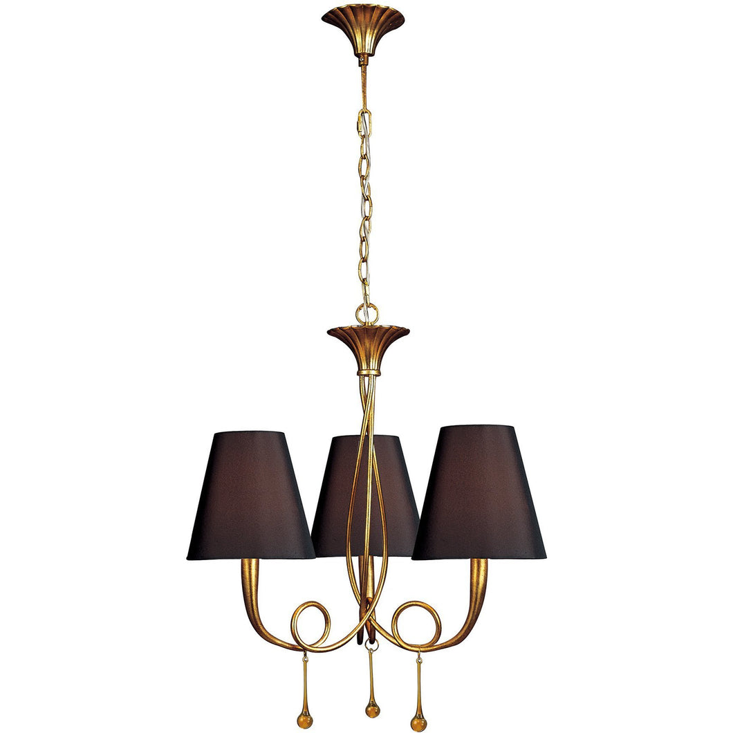 Dark Slate Gray Mantra M0542/BS Paola Pendant 3 Light E14, Gold Painted With Black Shades & Amber Glass Droplets