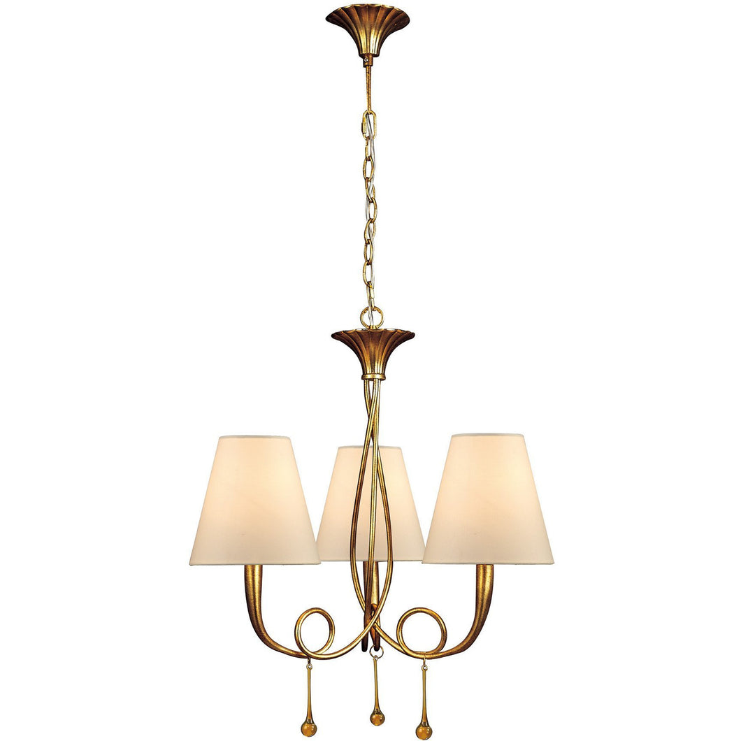 Bisque Mantra M0542 Paola Pendant 3 Light E14, Gold Painted With Cream Shades & Amber Glass Droplets