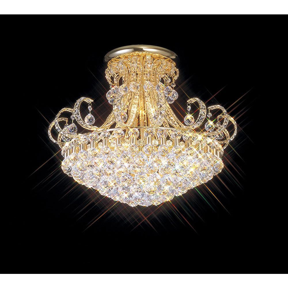 Tan Diyas IL30007 Pearl Ceiling 12 Light French Gold/Crystal diyas-il30007-pearl-ceiling-12-light-french-gold-crystal Pearl