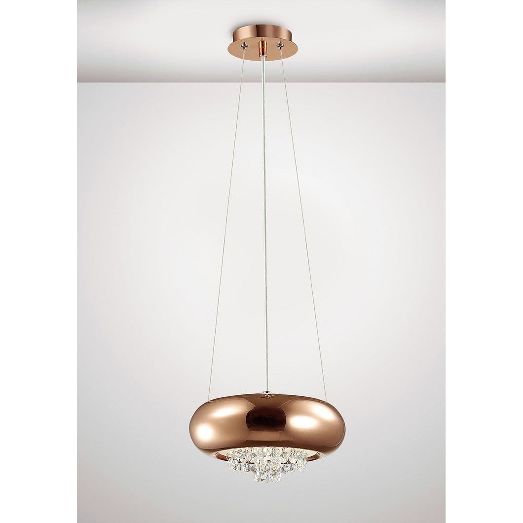 Lavender Diyas IL31560 Phyllis Small Pendant 2 Light G9 Polished Copper/Crystal