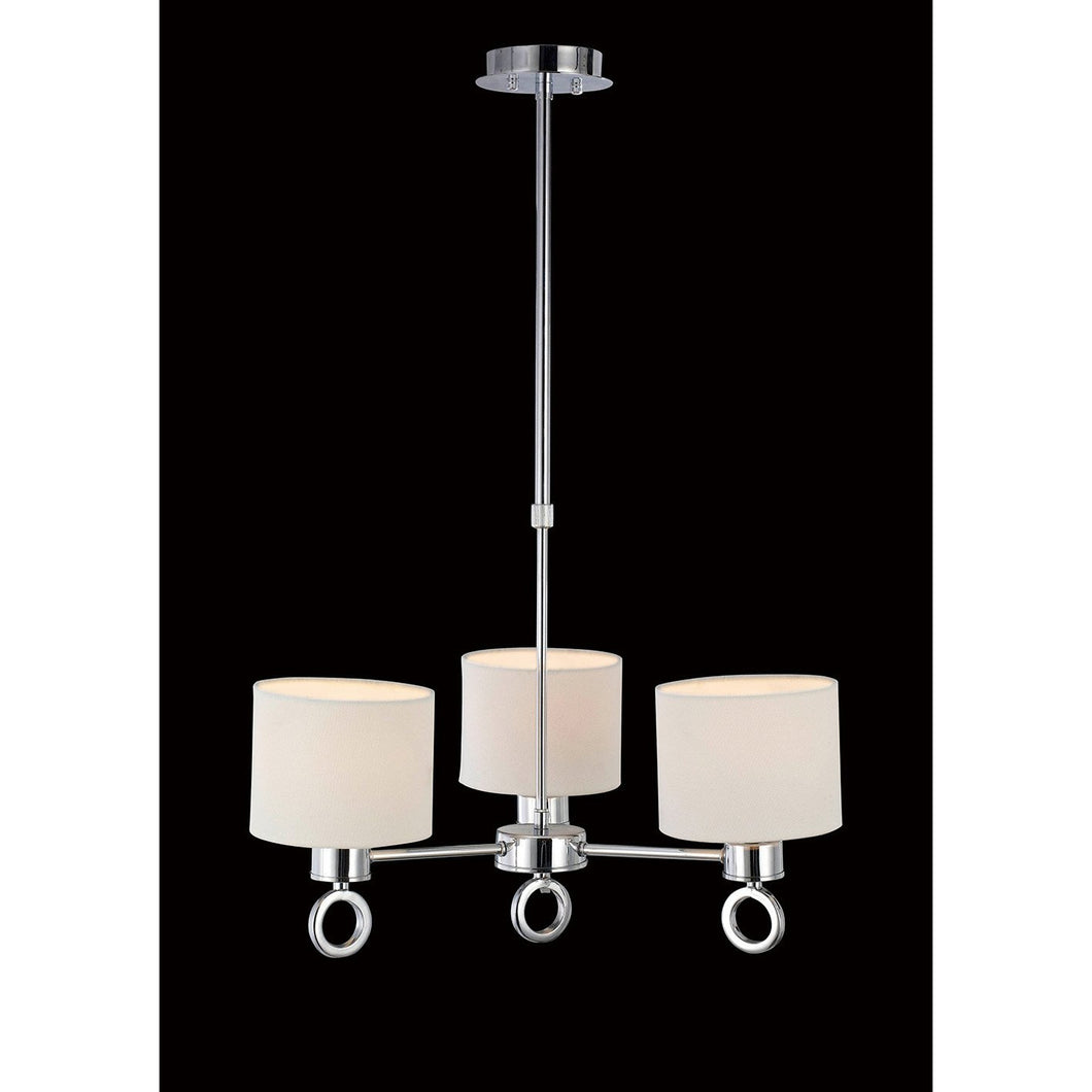 Black Diyas IL30053  Polo Pendant With White Shade 3 Light Polished Chrome