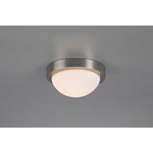 Antique White Deco D0395 Porter IP44 1 Light E27 Small Flush Ceiling Light, Satin Nickel With Opal White Glass