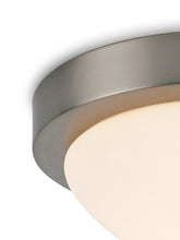 Cargar imagen en el visor de la galería, Dark Gray Deco D0396 Porter IP44 1 Light E27 Medium Flush Ceiling Light, Satin Nickel With Opal White Glass deco-d0396-porter-ip44-1-light-e27-medium-flush-ceiling-light-satin-nickel-with-opal-white-glass