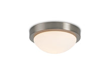 Cargar imagen en el visor de la galería, Misty Rose Deco D0396 Porter IP44 1 Light E27 Medium Flush Ceiling Light, Satin Nickel With Opal White Glass deco-d0396-porter-ip44-1-light-e27-medium-flush-ceiling-light-satin-nickel-with-opal-white-glass