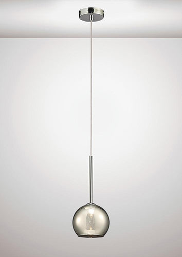 White Smoke Deco D0105 Regina Single Pendant 1 Light G9 Polished Chrome and Smoke Glass deco-d0105-regina-single-pendant-1-light-g9-polished-chrome-and-smoke-glass