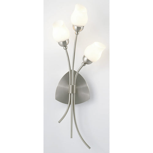 Beige Diyas IL10000  Rimini Wall Lamp 3 Light Satin Chrome/Opal Glass