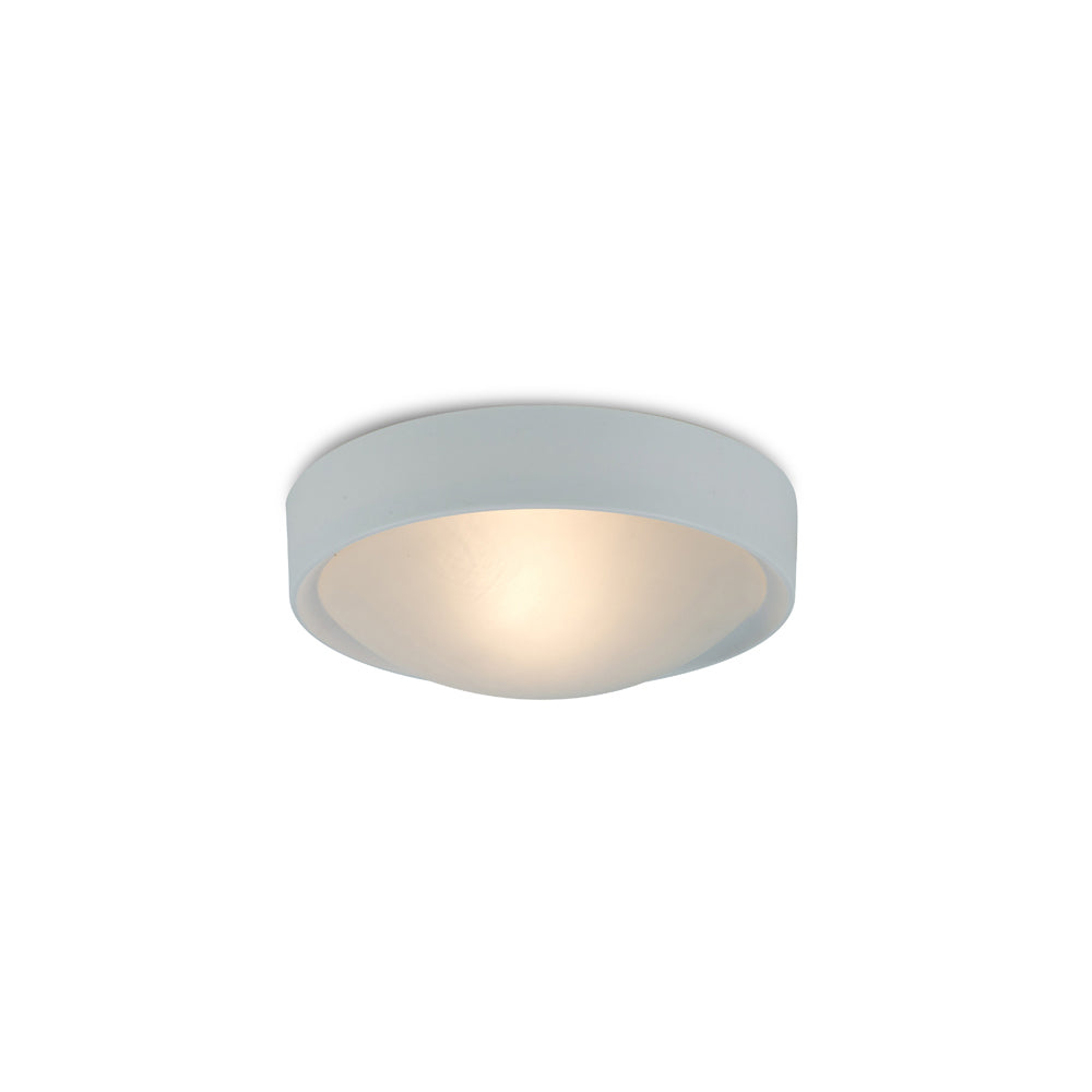 Bisque Deco D0398 Rondo IP44 1 Light E27 Flush Ceiling Light, White Frame With Frosted Glass
