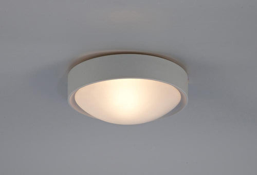 Antique White Deco D0399 Rondo IP44 1 Light E27 Flush Ceiling Light, Satin Nickel Frame With Frosted Glass deco-d0399-rondo-ip44-1-light-e27-flush-ceiling-light-satin-nickel-frame-with-frosted-glass