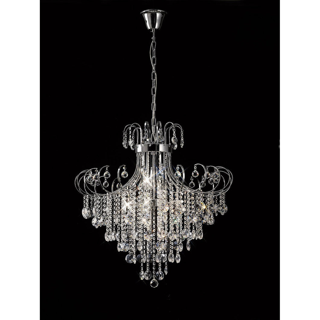 Black Diyas IL31058 Rosina Pendant 8 Light Polished Chrome/Crystal