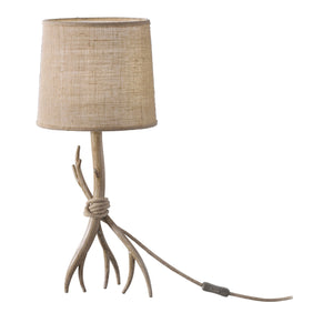 Rosy Brown Mantra M6181 Sabina Table Lamp 57cm, 1 x E27 (Max 40W), Imitation Wood, Linen Shade