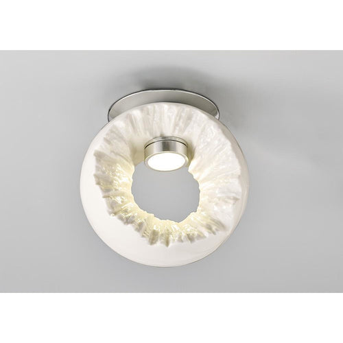 Antique White Diyas IL80061 Salvio Ceiling Round Sculpture 1 x 3W LED Chrome/White