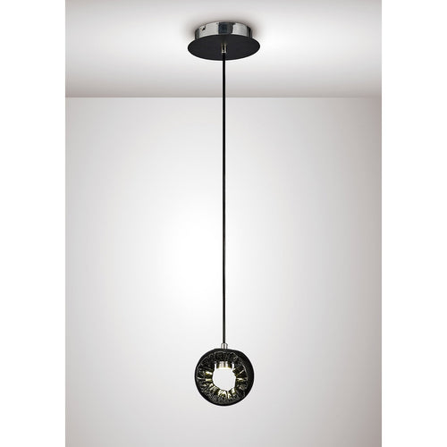Lavender Diyas IL80066 Salvio Round Sculpture Pendant 1 x 3W LED Chrome/Black