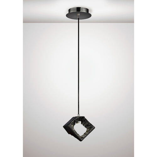White Smoke Diyas IL80068 Salvio Square Sculpture Pendant 1 x 3W LED Chrome/Black