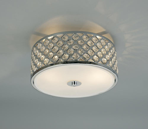 Antique White Deco D0411 Sasha 2 Light E14, Flush Ceiling Light, 300mm Round, Polished Chrome With Crystal Glass And Opal Glass Diffuser deco-d0411-sasha-2-light-e14-flush-ceiling-light-300mm-round-polished-chrome-with-crystal-glass-and-opal-glass-diffuser