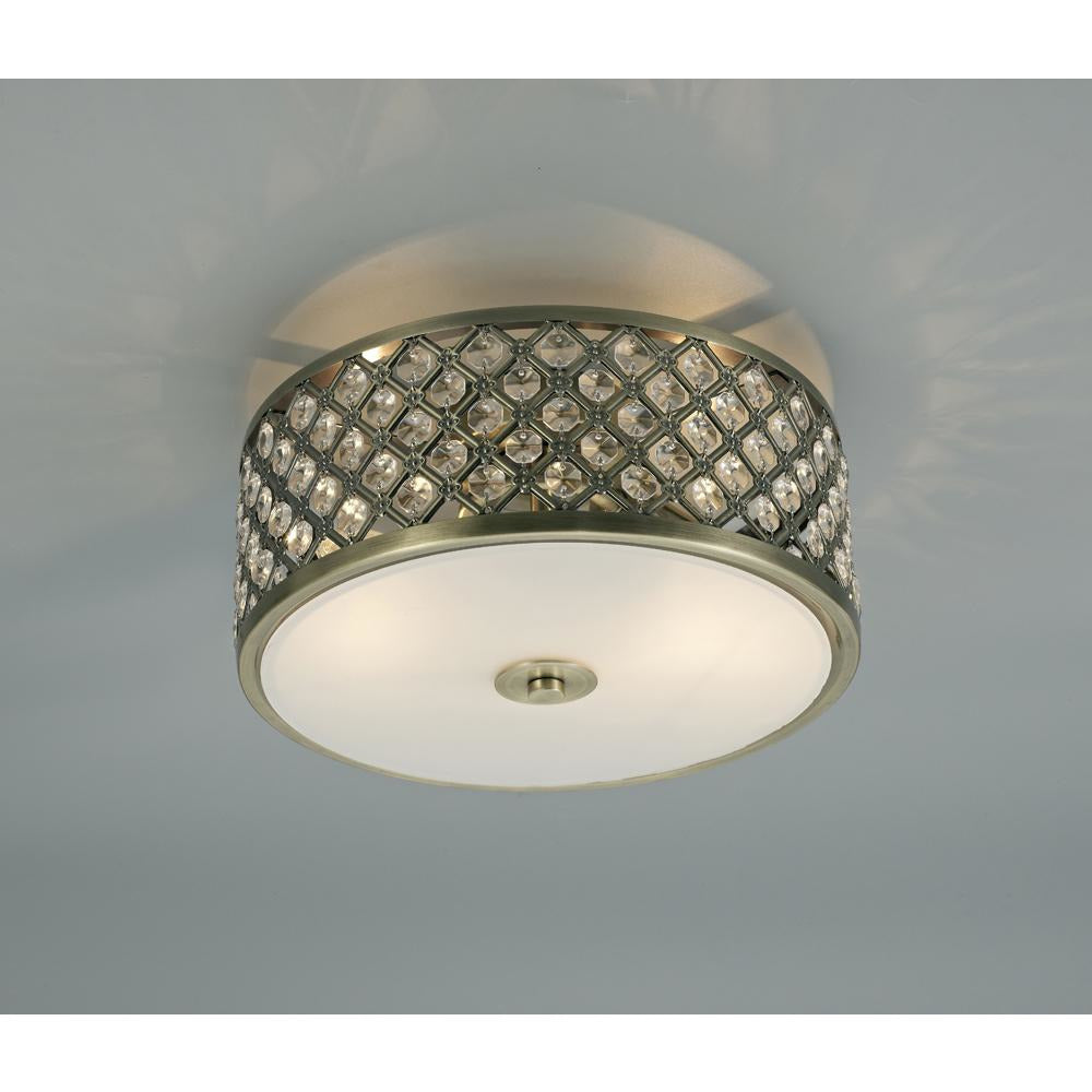 Dark Olive Green Deco D0412 Sasha 2 Light E14, Flush Ceiling Light, 300mm Round, Antique Brass With Crystal Glass And Opal Glass Diffuser
