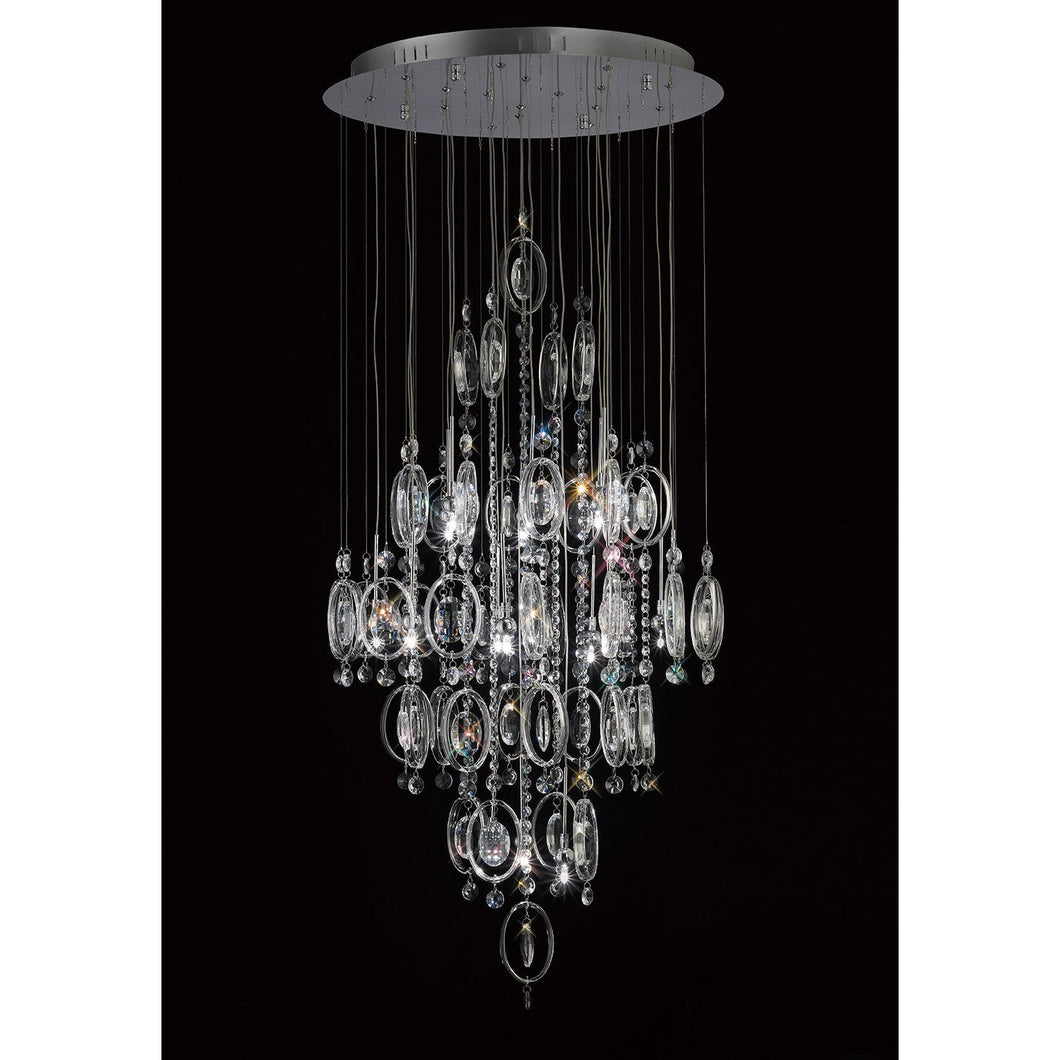 Black Diyas IL31354 Solana Pendant 18 Light Polished Chrome/Crystal
