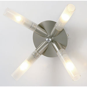 Dim Gray Diyas IL20342  Sona Ceiling 4 Light Satin Chrome/Frosted Glass