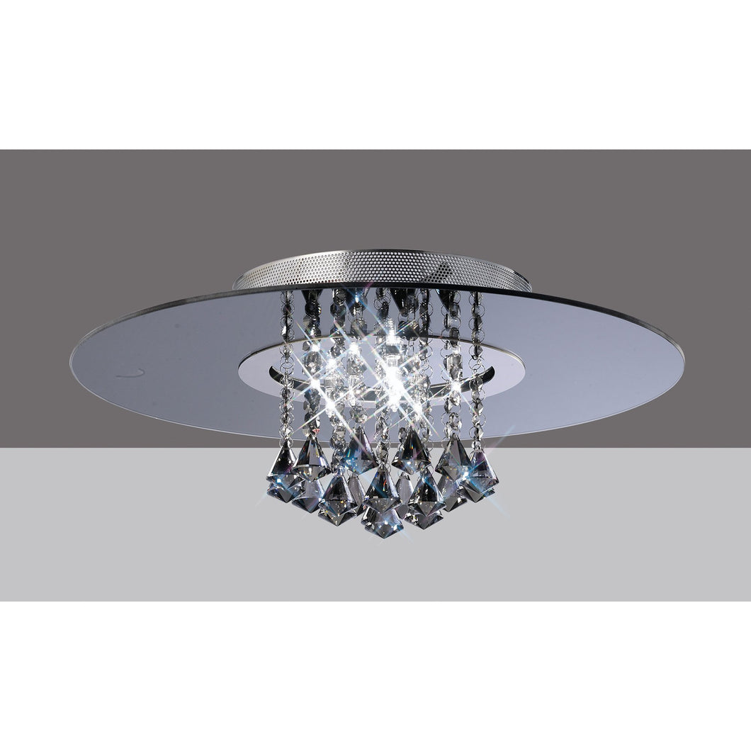 Dim Gray Diyas IL31005 Starda Ceiling Round 8 Light Polished Chrome/Smoked Mirror/Smoked Crystal