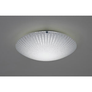Gray Deco D0407 Tassa 12W LED Small Flush Ceiling Light, 300mm Round, 4000K 950lm CRI80, Sunray Pattern Glass With Polished Chrome Detail