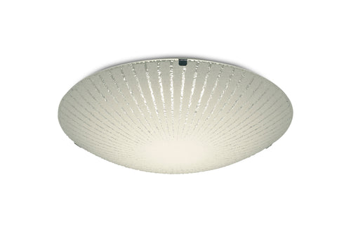 Antique White Deco D0407 Tassa 12W LED Small Flush Ceiling Light, 300mm Round, 4000K 950lm CRI80, Sunray Pattern Glass With Polished Chrome Detail deco-d0407-tassa-12w-led-small-flush-ceiling-light-300mm-round-4000k-950lm-cri80-sunray-pattern-glass-with-polished-chrome-detail