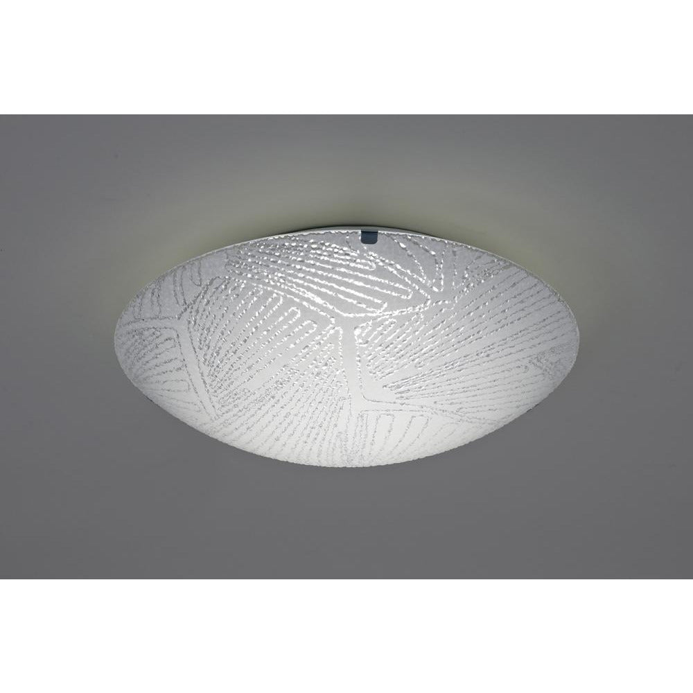 Gray Deco D0409 Tassa 12W LED Small Flush Ceiling Light, 300mm Round, 4000K deco-d0409-tassa-12w-led-small-flush-ceiling-light-300mm-round-4000k-950lm-cri80-random-line-pattern-glass-with-polished-chrome-detail