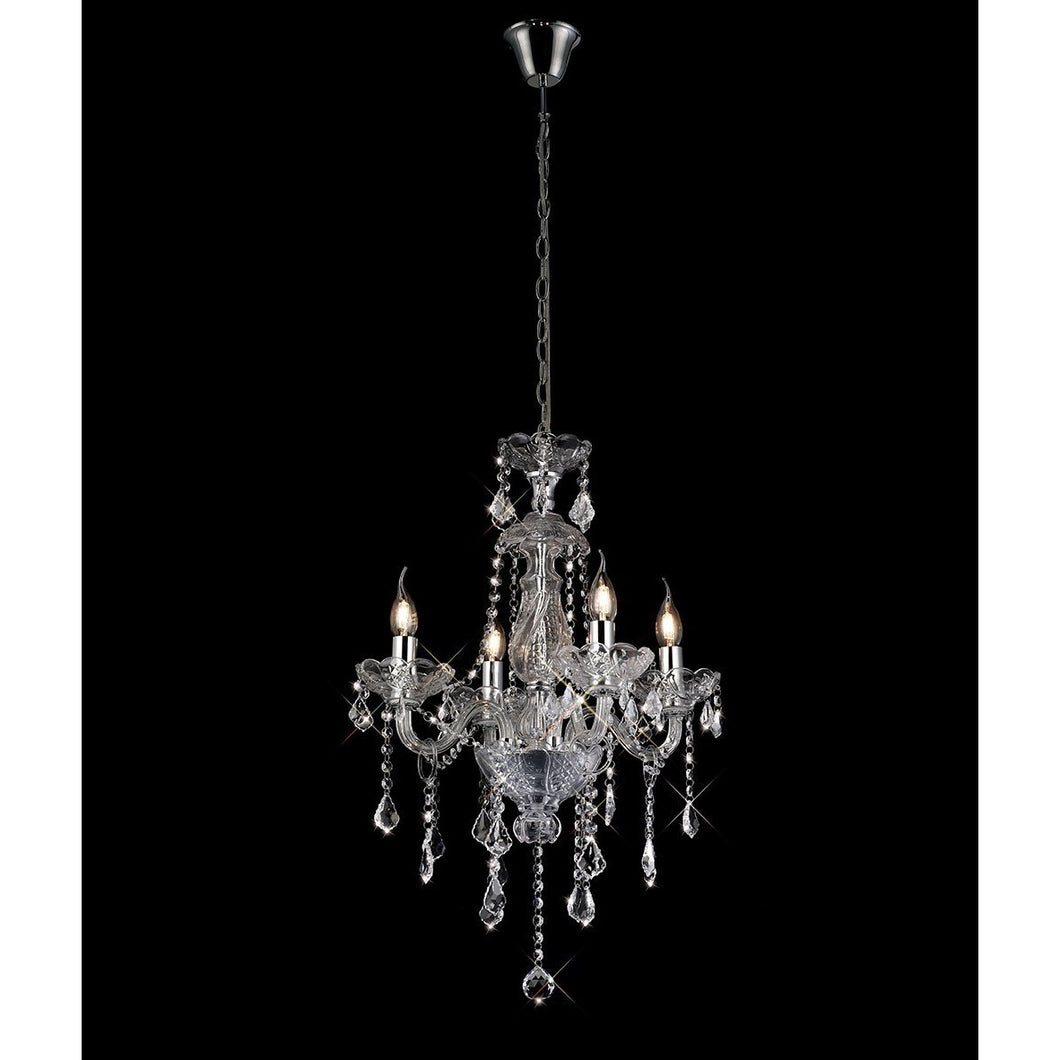 Black Diyas IL30451  Tiana Pendant 4 Light Polished Chrome/Glass/Crystal