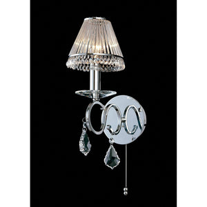 Gray Diyas IL30311 Torino Wall Lamp Switched 1 Light Polished Chrome/Crystal
