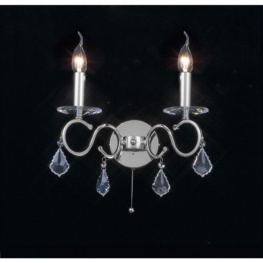 Black Diyas IL30312 Torino Wall Lamp Switched 2 Light Polished Chrome/Crystal