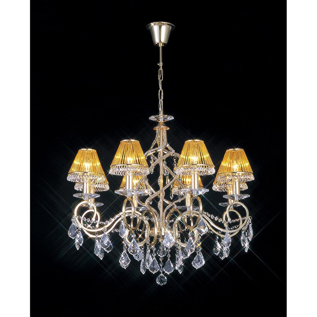 Dark Khaki Diyas IL30328 Torino Pendant 8 Light French Gold/Crystal