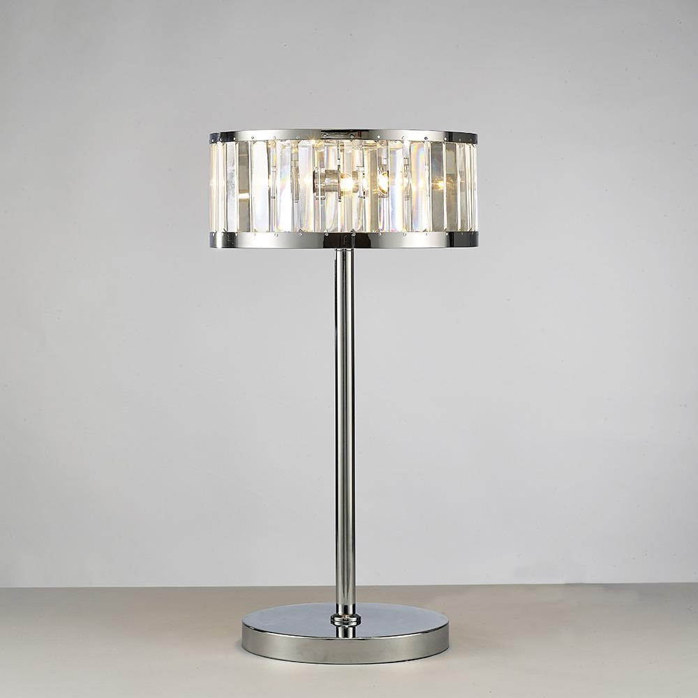 Light Gray Diyas IL30176 Torre Table Lamp 3 Light Polished Chrome/Crystal
