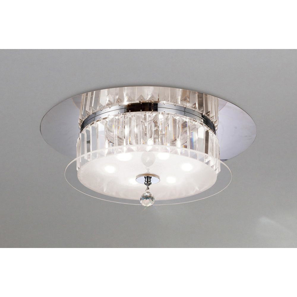 Beige Diyas IL30242 Tosca Ceiling Round 6 Light Polished Chrome/Glass/Crystal