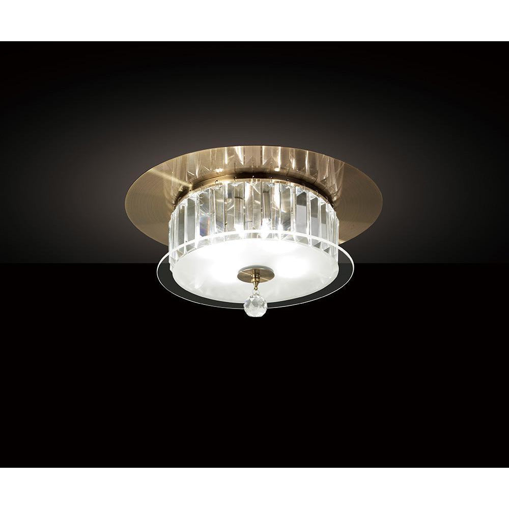 Rosy Brown Diyas IL30243 Tosca Ceiling Round 4 Light Antique Brass/Glass/Crystal