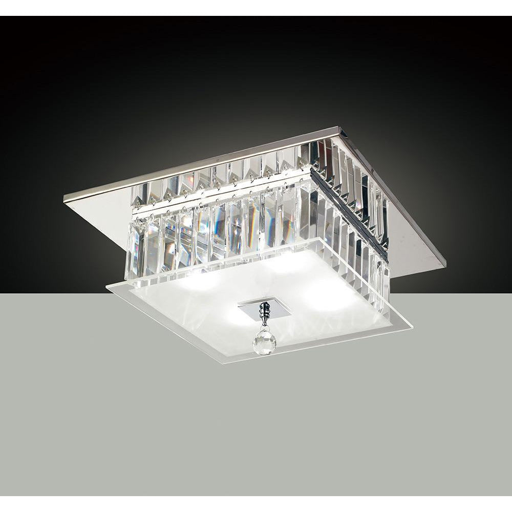 Beige Diyas IL30245 Tosca Ceiling Square 4 Light Polished Chrome/Glass/Crystal