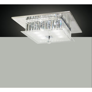 Gray Diyas IL30246 Tosca Ceiling Square 6 Light Polished Chrome/Glass/Crystal