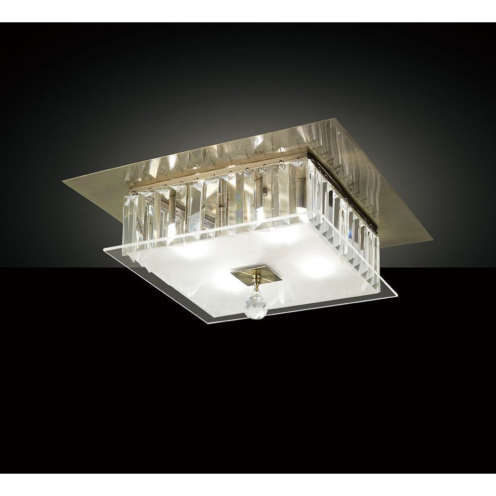 Rosy Brown Diyas IL30247 Tosca Ceiling Square 4 Light Antique Brass/Glass/Crystal