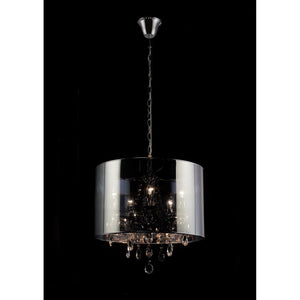 Black Diyas IL30461 Trace Pendant With Chrome Shade 5 Light Polished Chrome/PVC /Crystal