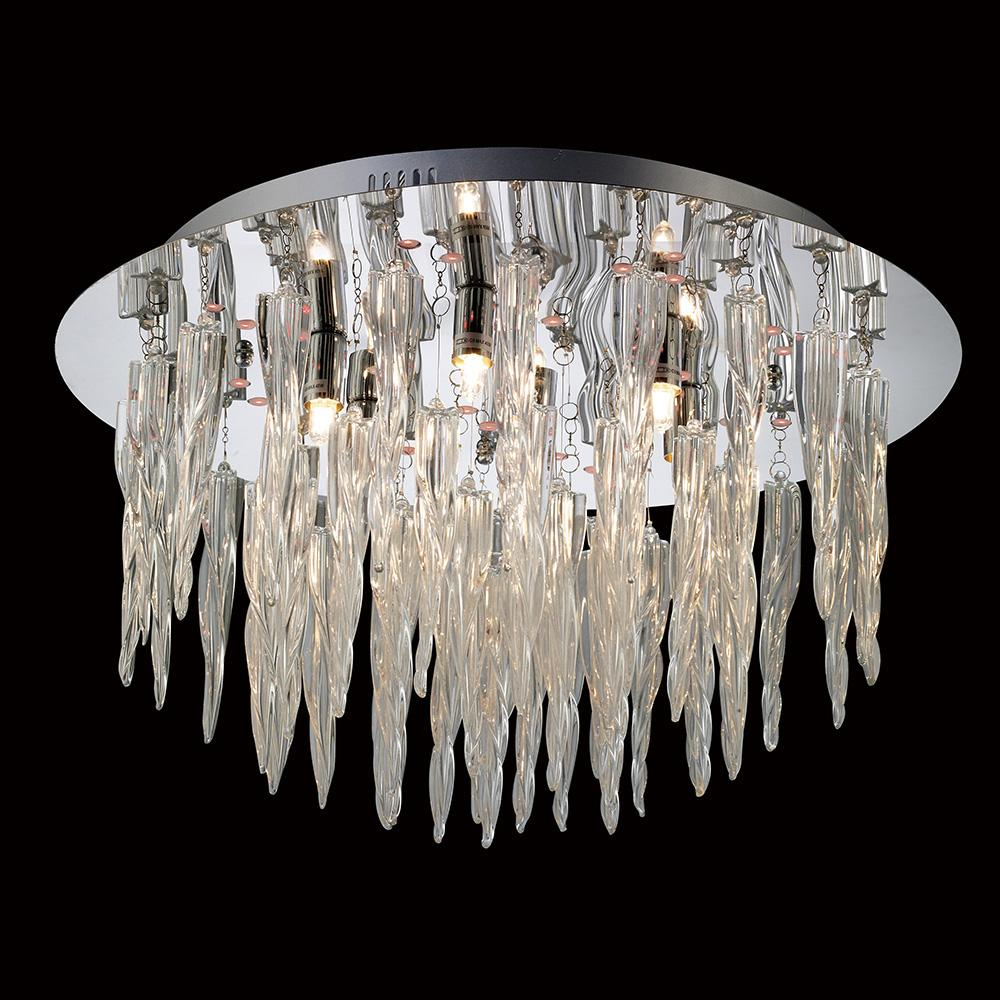 Dark Gray Diyas IL30653  Tropez Ceiling 6 Light With RGB LEDs And Remote Control Polished Chrome/Glass