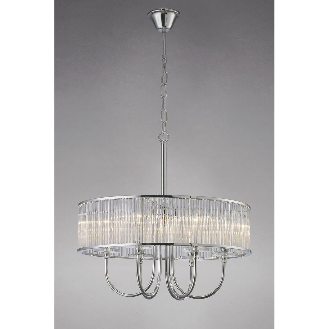 Dark Gray Diyas IL31412 Vanessa Pendant Round 6 Light Polished Chrome/Crystal